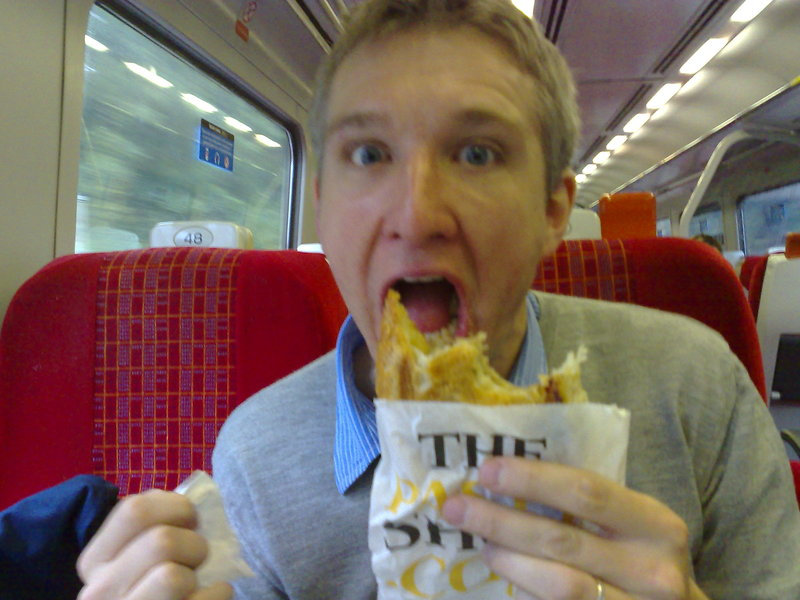 simon summerscales, eating a cornish pasty